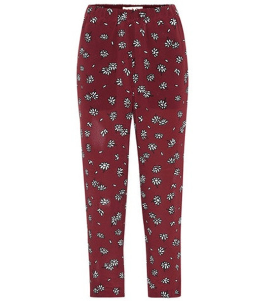Marni Daisy silk cropped pants in red