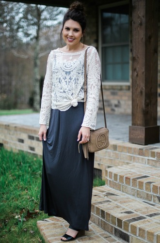 life & messy hair blogger black shoes white lace white top gucci bag mini bag blue dress