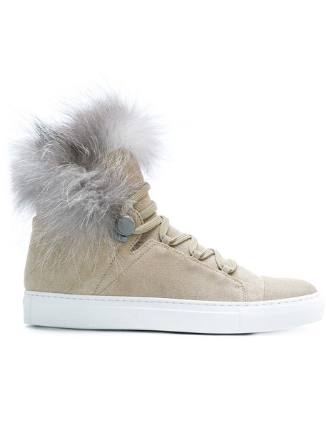 moncler fur women sneakers lace leather nude shoes