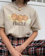 shirt,angel,cute,aesthetic,pants,beige,plaid,red,black,white,outfit,oversized,loose
