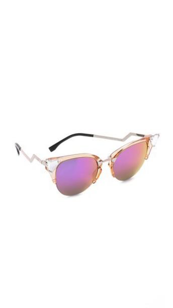 802c0467de4da Fendi Fendi Iridia Crystal Corner Sunglasses - Trans Print Peach Multi Pink