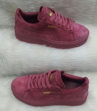 burgundy burgundy shoes puma puma sneakers dusty pink