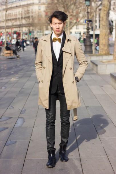mahayanna blogger beige coat mens coat trench coat