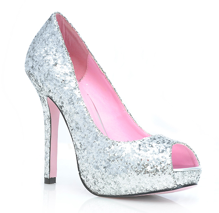 Silver glitter peep toe pumps with 5 inch heel