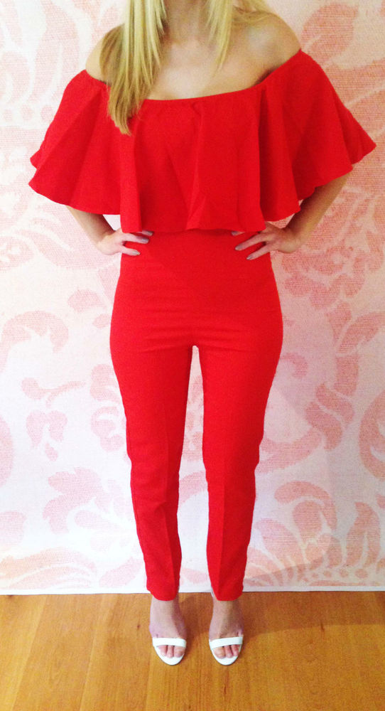 """sophie"" red ruffle bandeau celeb tailored jumpsuit romper sizes 6 14 outfit"