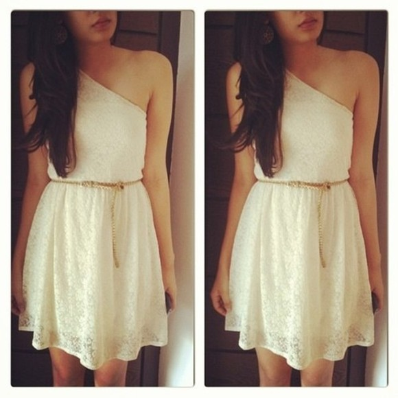 dress white lace lace dress cute dress white dress cute greece belt one shoulder pretty nice