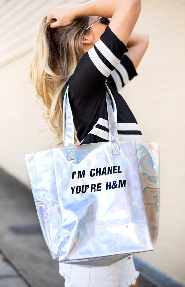 Mighty i'm chanel you're h&m tote