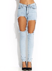 High waisted cut out thigh jeans light blue (pre