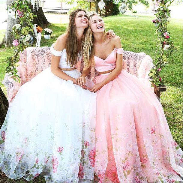 971e55aef559 dress sherri hill off the shoulder dress floral dress 2 piece prom dress  prom dress
