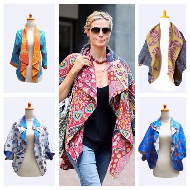 jacket heidi klum batik floral flowers bolero kimono cardigan kimono jacket boho floral kimono