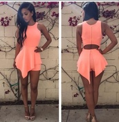 jumpsuit,coat,dress,peach,romper,soyabee,the_jodiejoe,light pink,dusty pink,curly hair,heels,nude heels,nude,strappy heels,short,short dress,black hair,black girls killin it,african american,cute,girly,girl,watch,outfit,summer outfits,summer dress,peach dress,shorts,asymmetrical,summer,cut-out,peach romper,tan heels,earrings,cute dress,pink dress