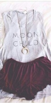 coton,moon,t-shirt,jewels,top,grey,grey top,moon child top,girl,lune,luna,girly,hipster