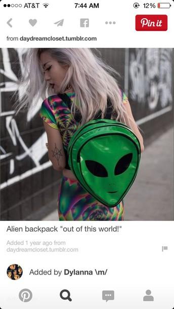 bag alien green bag lol 90s grunge top pink shirt birthday style skirt asymmetrical skirt white skirt