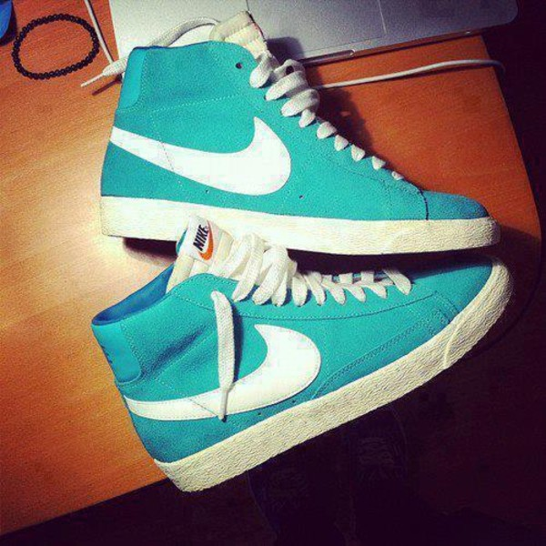 shoes nike white turquoise nike blazer mid high top sneakers nike shoes suede aqua mint nike sneakers nikes blue lovely cute dance tumblr sneakers