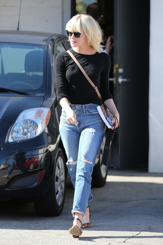 jeans top emma stone flats animal print
