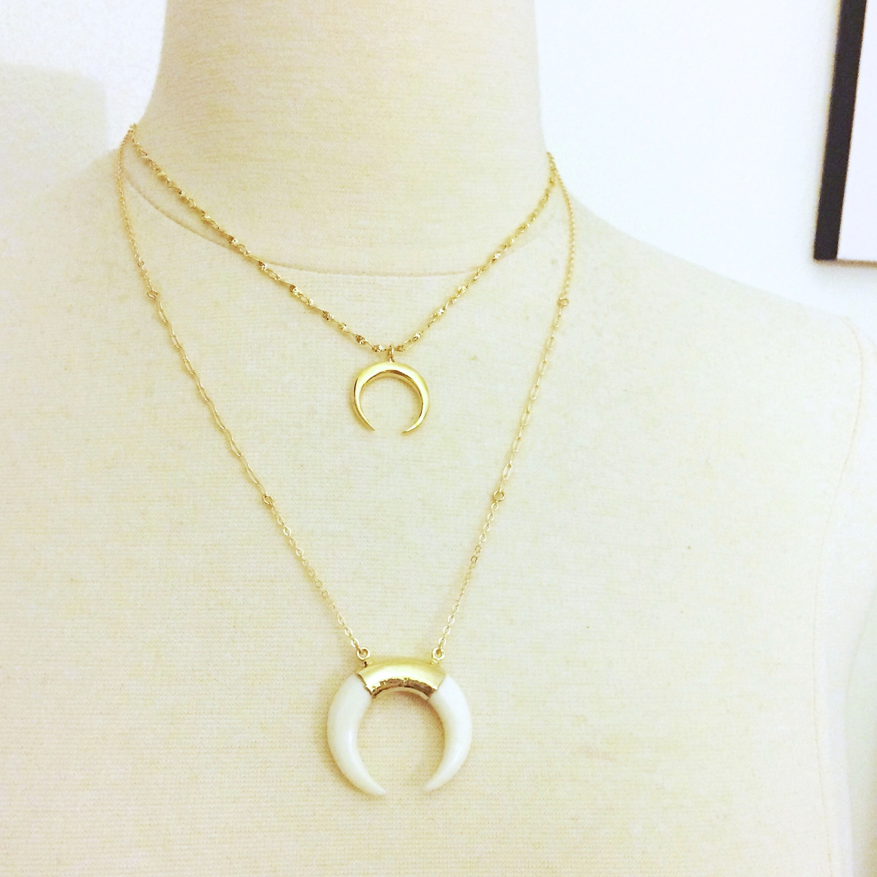 boho new horn jewelry moon item famshin crescent double necklace gift fashion tomtosh minimal girlfriend