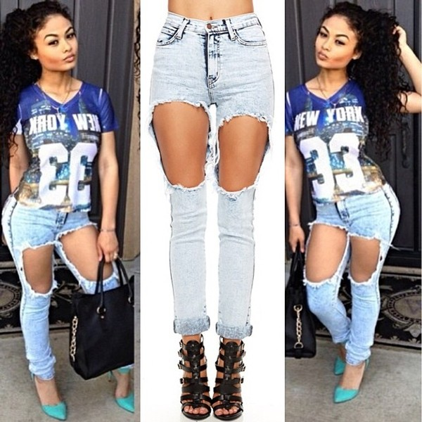 Jeans: ripped, acid wash, holes, shorts, summer, fashion, style, t ...
