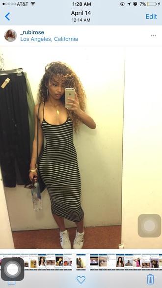 dress stripes tight black and white bodycon dress