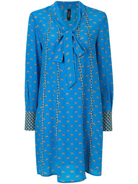Marc Cain dress printed dress bow women blue silk