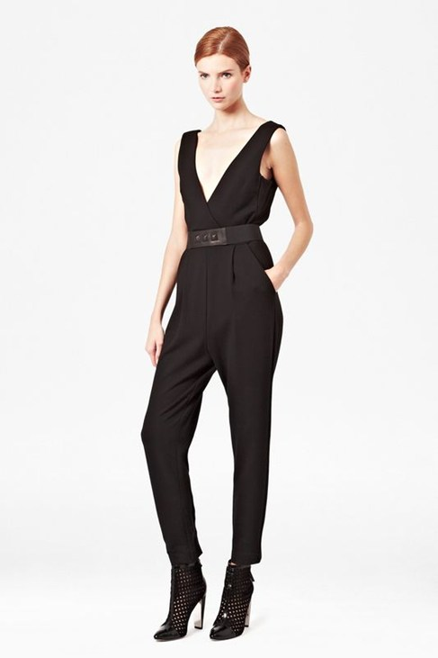 Marie V-Neck Jersey Jumpsuit   - Jumpsuits - French Connection Usa