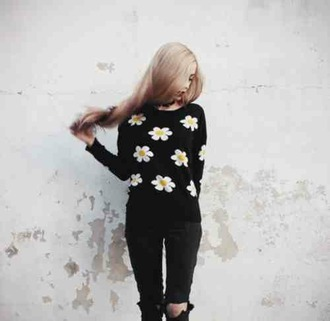 sweater black sweater floral floral sweater