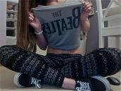 t-shirt,the beatles,leggings,tribal pattern,vans,grey top,black leggings,pants