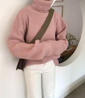 sweater,pink,girly,knitwear,knit,knitted sweater,turtleneck,turtleneck sweater