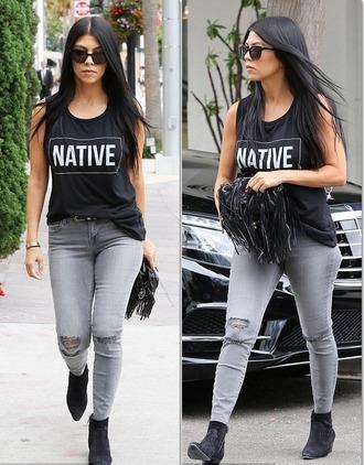 jeans top grey grey jeans kourtney kardashian purse
