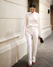 pants,white pants,topw,white top,blouse,shoes,bag,white blouse