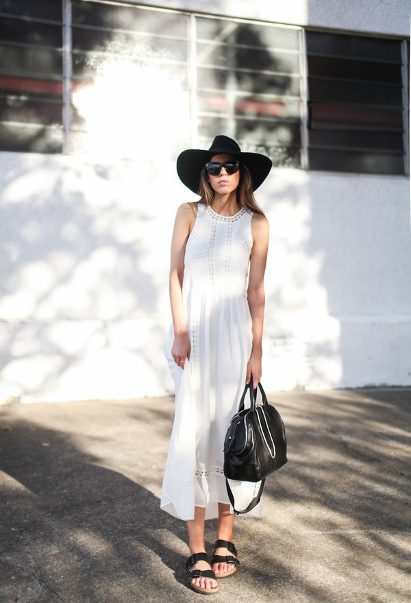 modern legacy dress hat sunglasses shoes bag white dress