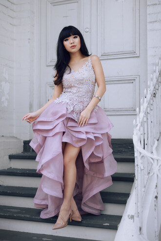 pale division blogger ruffle nude high heels lilac dress prom dress