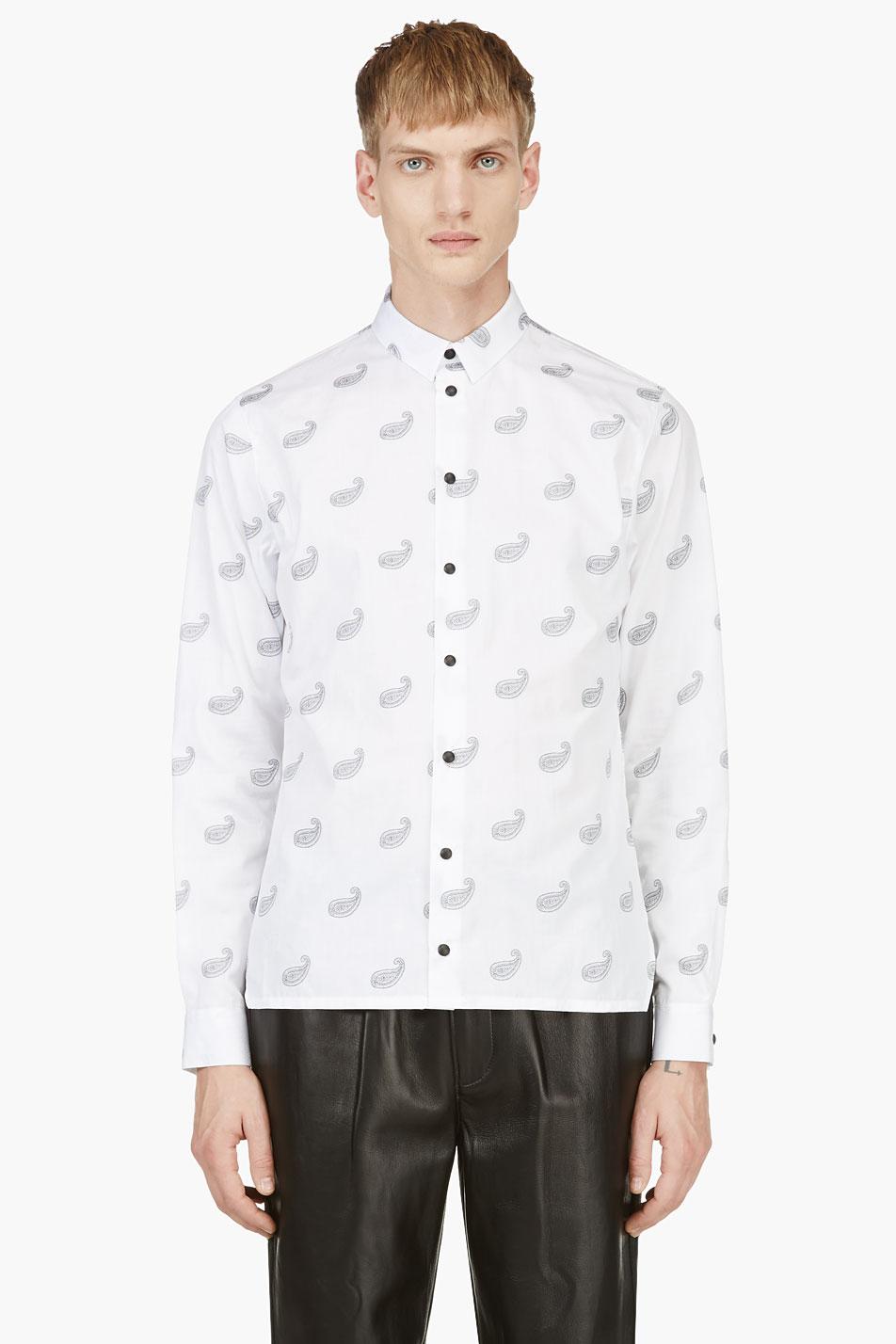 krisvanassche white paisley pattern button down shirt