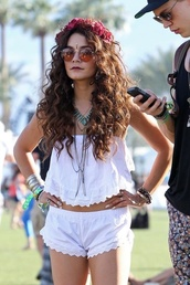 shorts,white,cotton,eyelet,shirt,crop tops,vanessa hudgens,shoes,hipster,festival,summer,jewels,hat,boho,flower crown,bustier,crochet shorts,blouse,white crop tops,sleevless,white lace,lace,coachella,sunglasses,cute outfits,jumpsuit,tube top,white lace shorts,white shorts,turquoise bib necklace,layered turquoise necklace,pants,top,lace cami,hair accessory,hippie,venessa hudgens,hippie☝️☝️,two-piece,white top,short,tank top,vanessa hugens,festival look,off the shoulder,outfit,white outfit,vanessa hudgens-white blouse