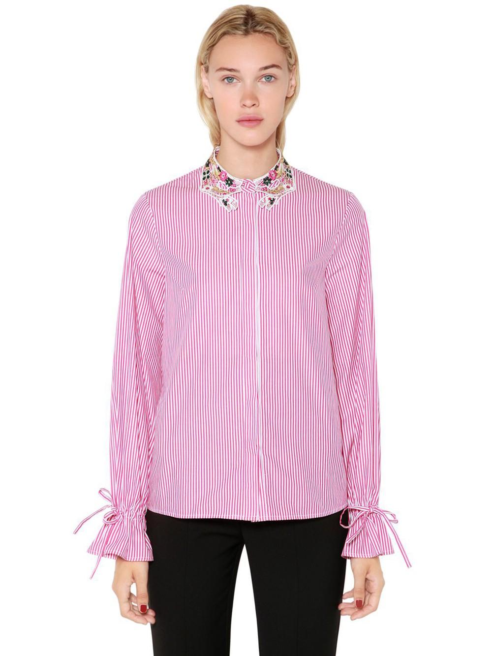 VIVETTA Lurex Lace Collar Striped Poplin Shirt in pink