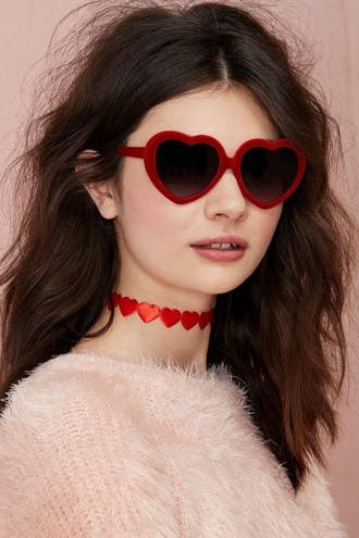 jewels choker necklace jewelry red heart heart sunglasses