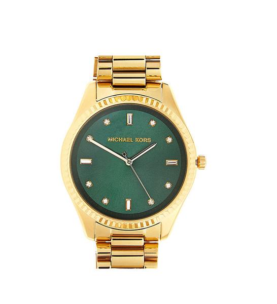 Michael Kors Women's Blake Gold Stainless Steel Green Dial Watch | Emprada
