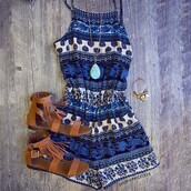 romper,shop priceless,jumpsuit,summer,cloches,hype,hippie,summer shorts,pattern,colorful patterns,blue,aztec,summer dress,dress,patterned dress,tribal pattern,summer outfits,nice,shoes,blue romper
