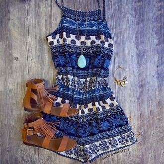 romper shop priceless jumpsuit summer cloches hype hippie summer shorts pattern colorful patterns blue aztec summer dress dress patterned dress tribal pattern summer outfits nice shoes blue romper