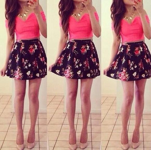 black skater skirt floral skater skirt pink crop top