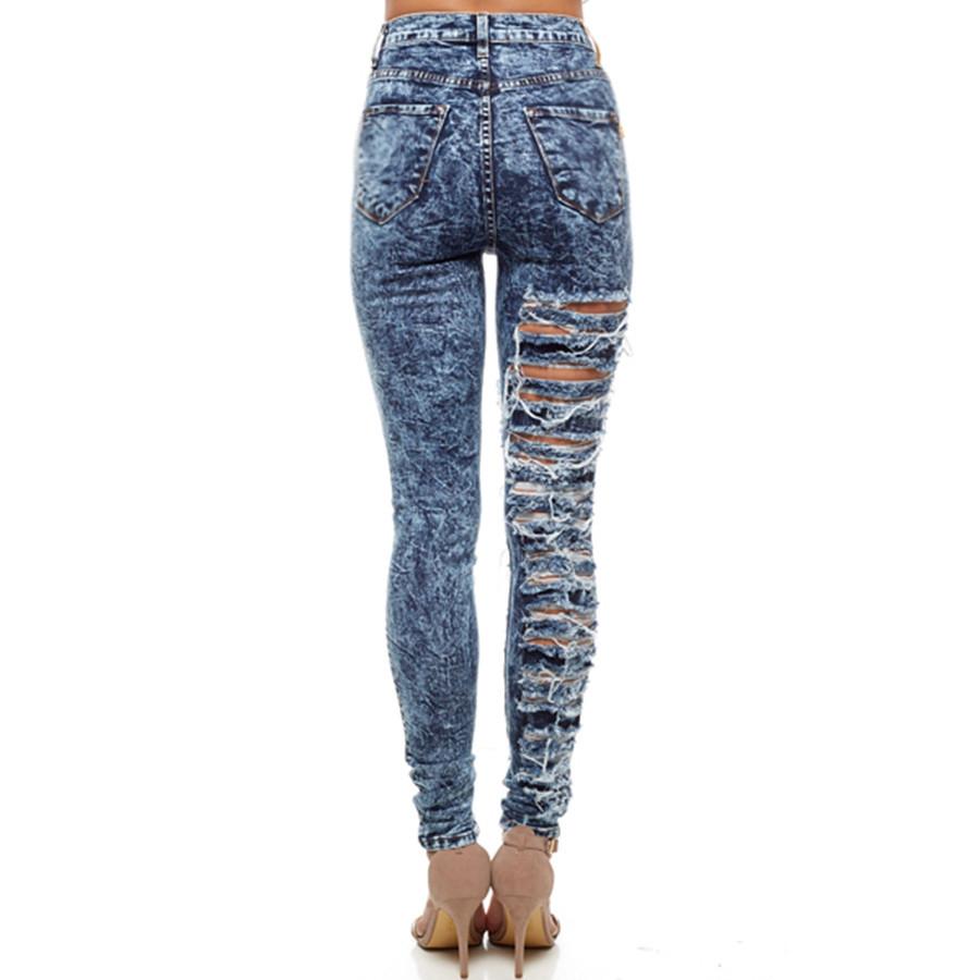 Dark Acid One Leg Destruction Denim Jeans | Emprada