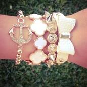 jewels,anchor bracelet,bow bracelet,pearl,studs