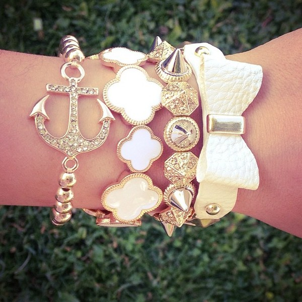 jewels anchor bracelet bow bracelet pearl studs