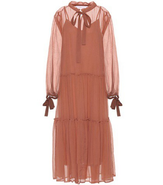 See By Chloé Cotton and silk dress in brown