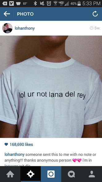 lana del rey t-shirt lana del rey's shirt lohanthony tumblr shirt