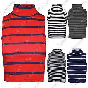 NEW WOMENS LADIES CROPPED STRIPE POLO ROLL NECK TOPS STRETCH BODY CROP VEST TOP   eBay