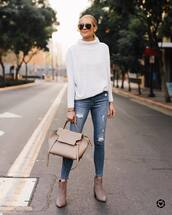 jeans,skinny jeans,ripped jeans,sweater,knitted sweater,white sweater,ankle boots,suede boots,handbag,aviator sunglasses