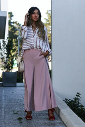 pants,tumblr,pink pants,wide-leg pants,palazzo pants,sandals,sandal heels,high heel sandals,red sandals,shirt,stripes,striped shirt,bag,nude bag,chain bag,necklace,jewels,jewelry