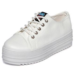 Toecap platform sneakers, white , 39