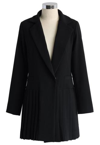 coat chic blazer with pleated hem chicwish blazer black