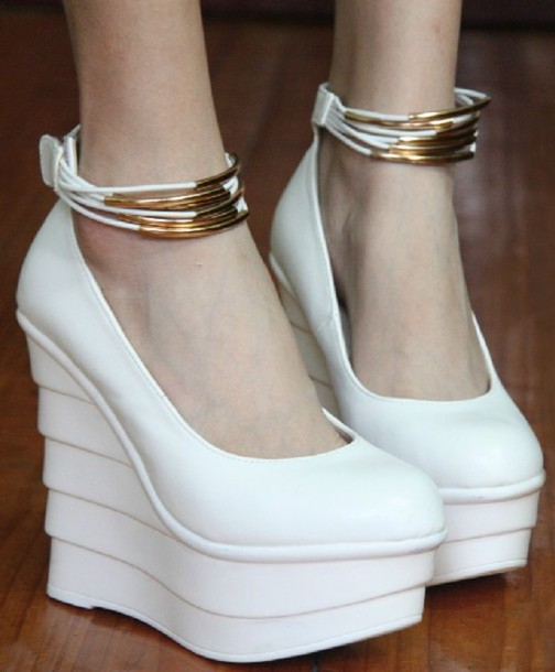 Shorts: wedge heel, wedges, heel, shoes, high heels, white wedges ...